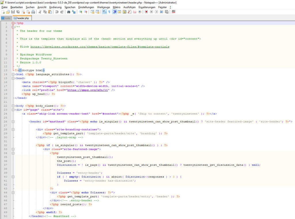 php code WordPress Header twentynineteen in Notepad++